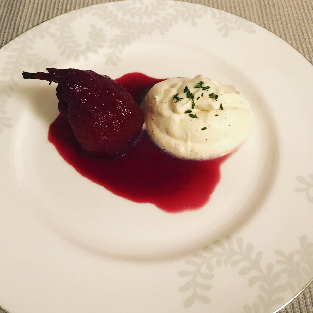 Poached pear with vanilla and mascarpone mousse