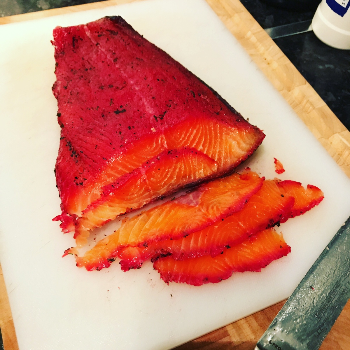 Beetroot and dill cured salmon
