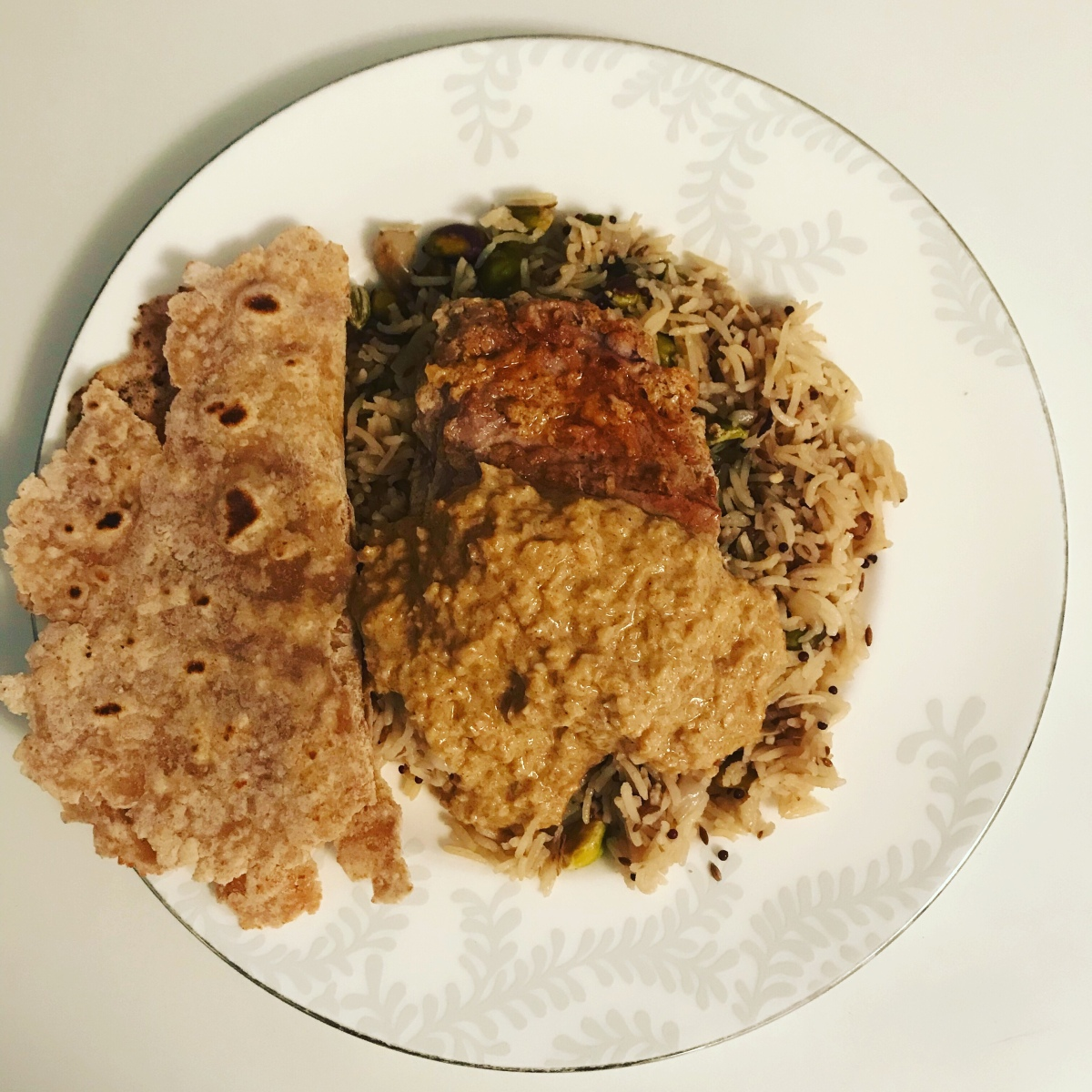 Aromatic rice with tandoori lamb steaks