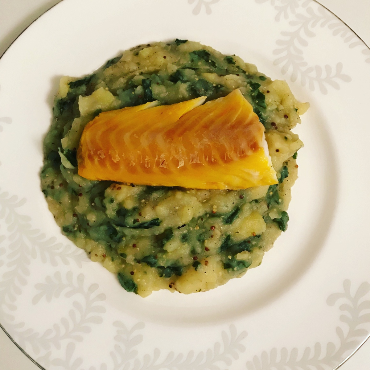 Smoked cod with mustard and kale mash